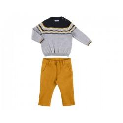 Conj.calça tricô jacquard