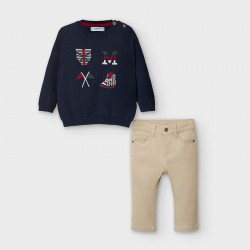 Conj.calça tricô intarsia