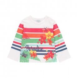 Camiseta malha floral e...